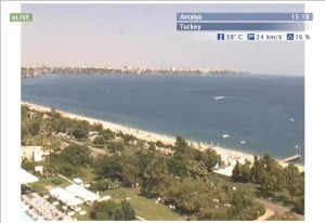 Live Antalya holiday resort beach cam in Turkey