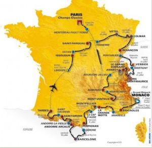 Tour de France 2009 cycle race route